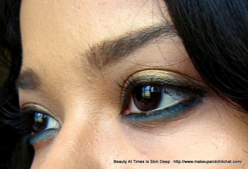 Easy Teal eye makeup for colored skin
