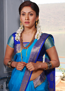 manjari hot pic in blue saree