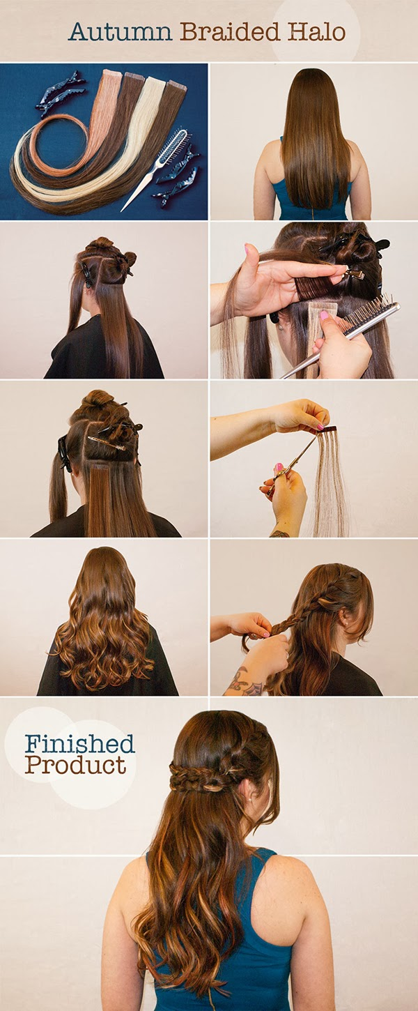 Hotheads hair extensions hotheads tutorial braided halo in this step by step learn to create a braided halo that features pops of color using hotheads hair extensions baditri Image collections