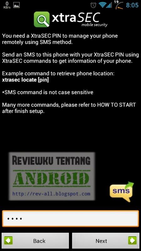 Masukkan PIN baru - Tutorial pengaturan pertama XtraSEC oleh rev-all.blogspot.com