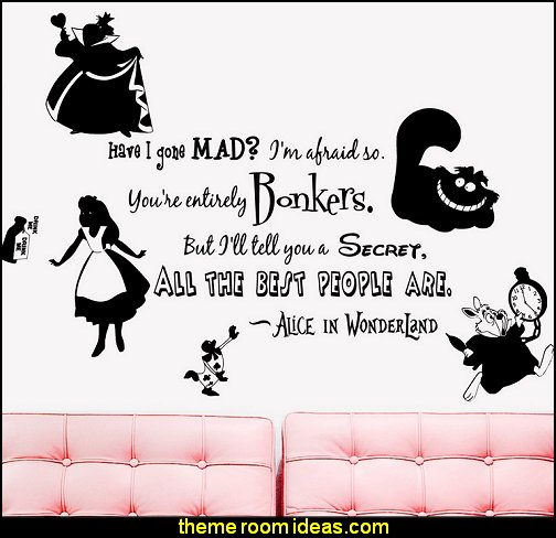 Alice in Wonderland Rabbit Cat Clock Have you gone Mad Quote  WALL STICKERS