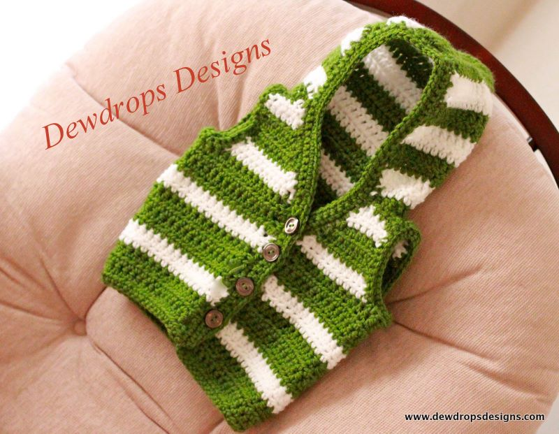 Dewdrops Designs Green And White Striped Sweater