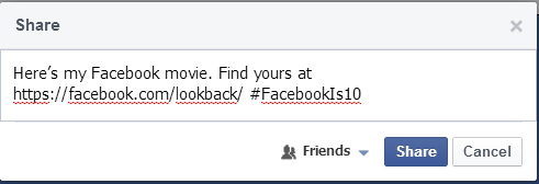 Share Lookback video facebook