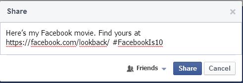 Share Lookback video facebook