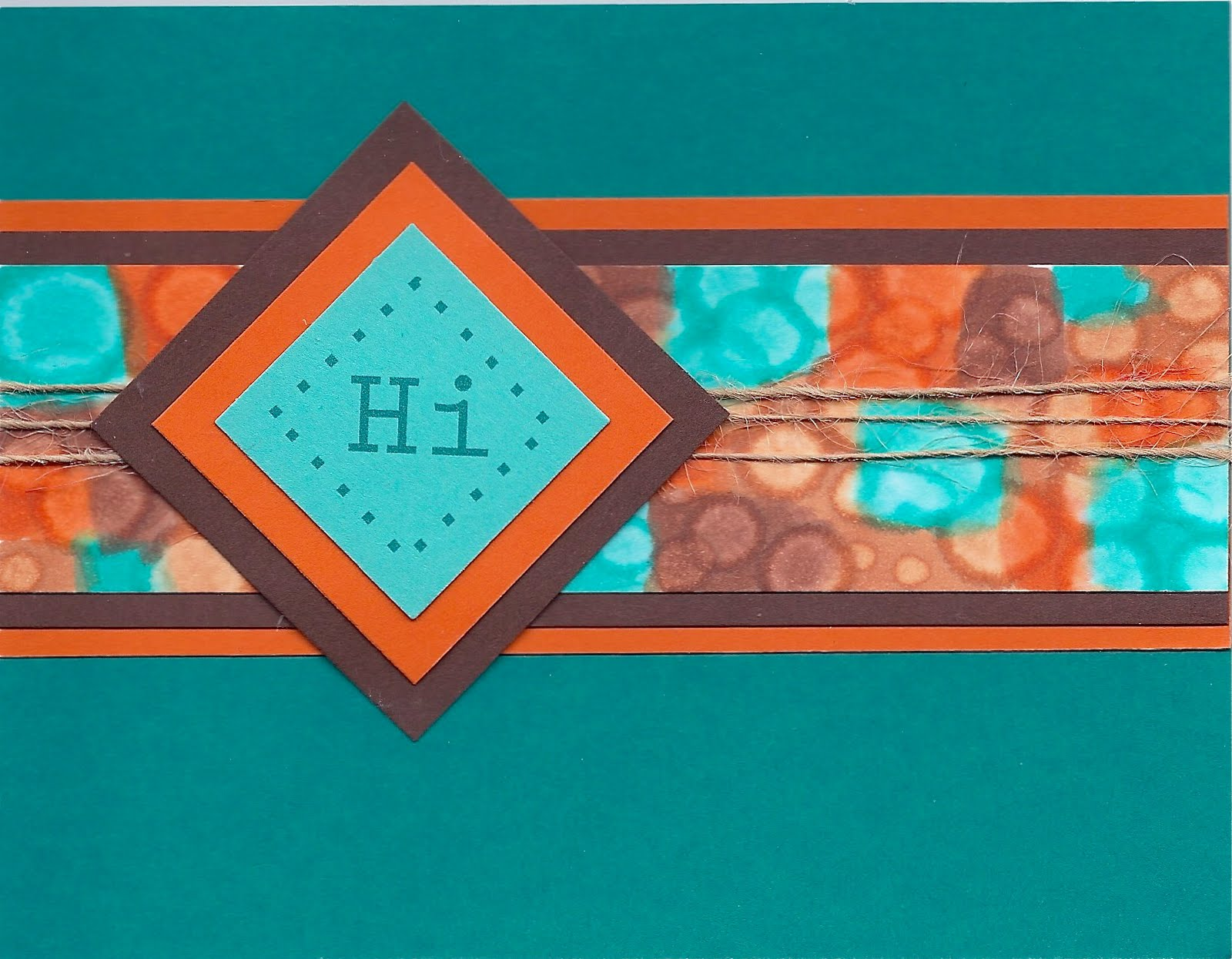Mostly Markers Cards Brown Orange And Turquoise Card