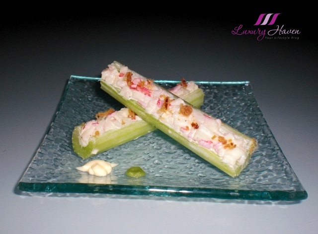 craby celery sticks bacon bits appetizer