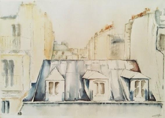 Paris Aquarelle toits vue d'en haut