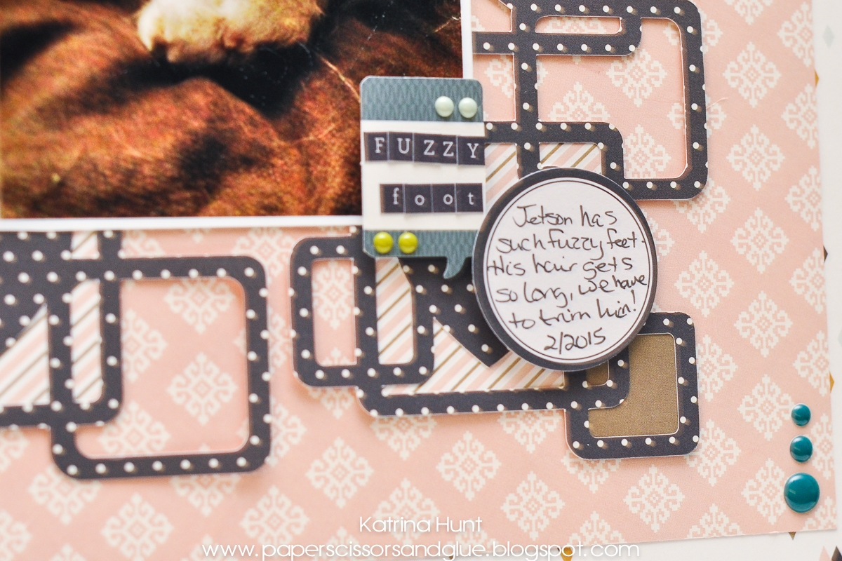 Fuzzy Foot Dog Scrapbook Page by Katrina Hunt featuring 17turtles Digital Cut File Heartfelt Background