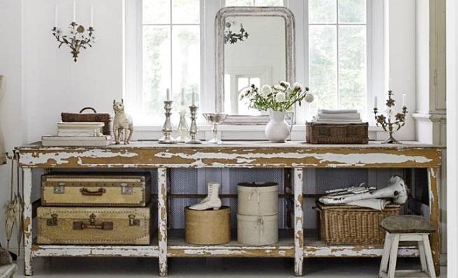 Mueble baño blanco envejecido