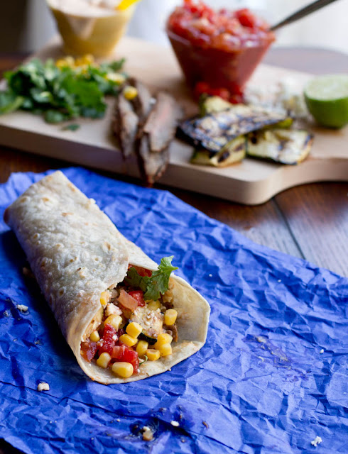 Grilled Steak and Zucchini Burrito ohsweetbasil.com