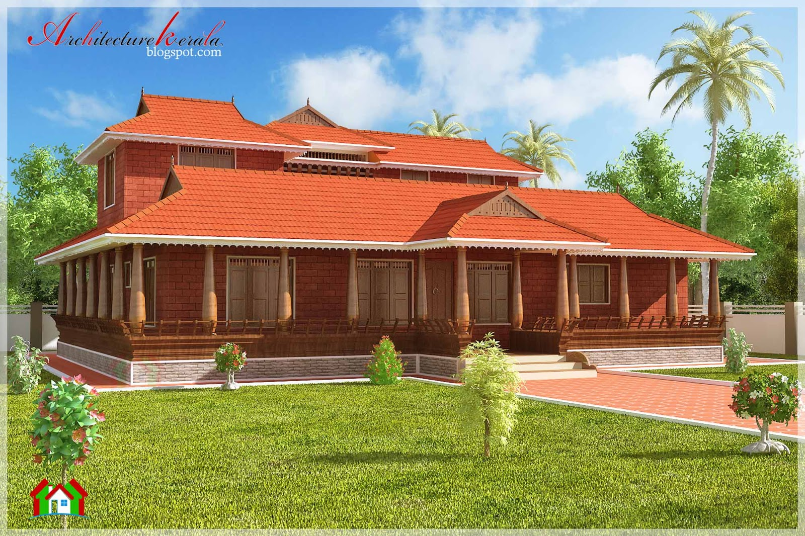 Nalukettu style kerala house elevation architecture kerala for Conventional homes