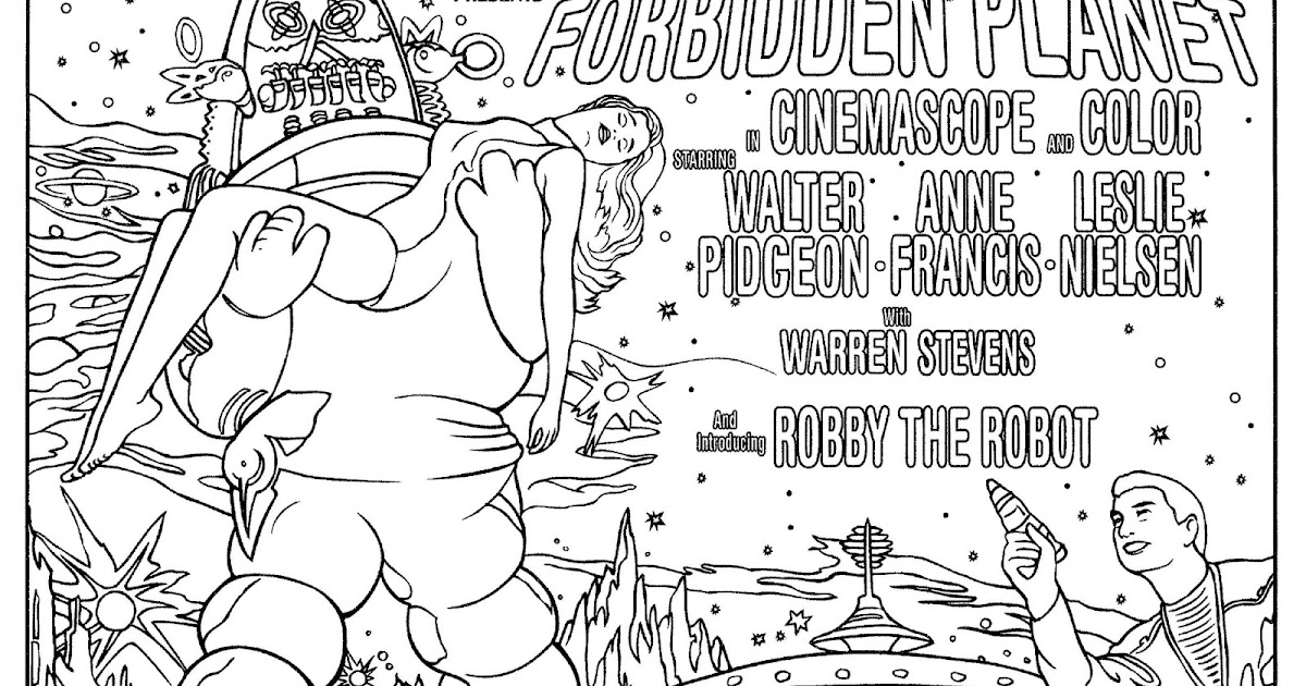 mostly paper dolls too   forbidden planet coloring page