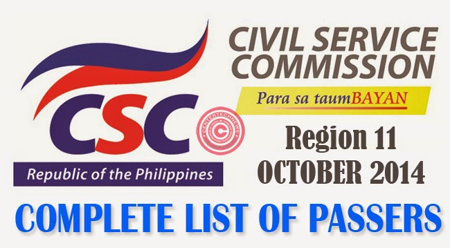 Region 11 Civil Service Exam Results October 2014- Paper and Pencil Test List of Passers