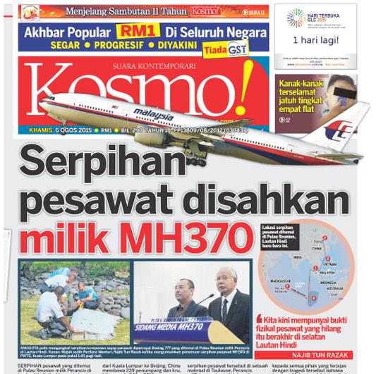 Serpihan Disahkan Milik MH370