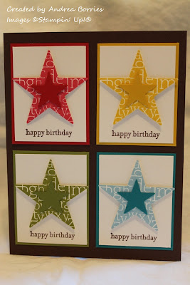 Brown card with four white panels. Each panel has a large printed star layered with a small solid star and is layered on the same color card stock (red, yellow, green and blue).