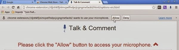 Talk and Comment asking permission to access your microphone