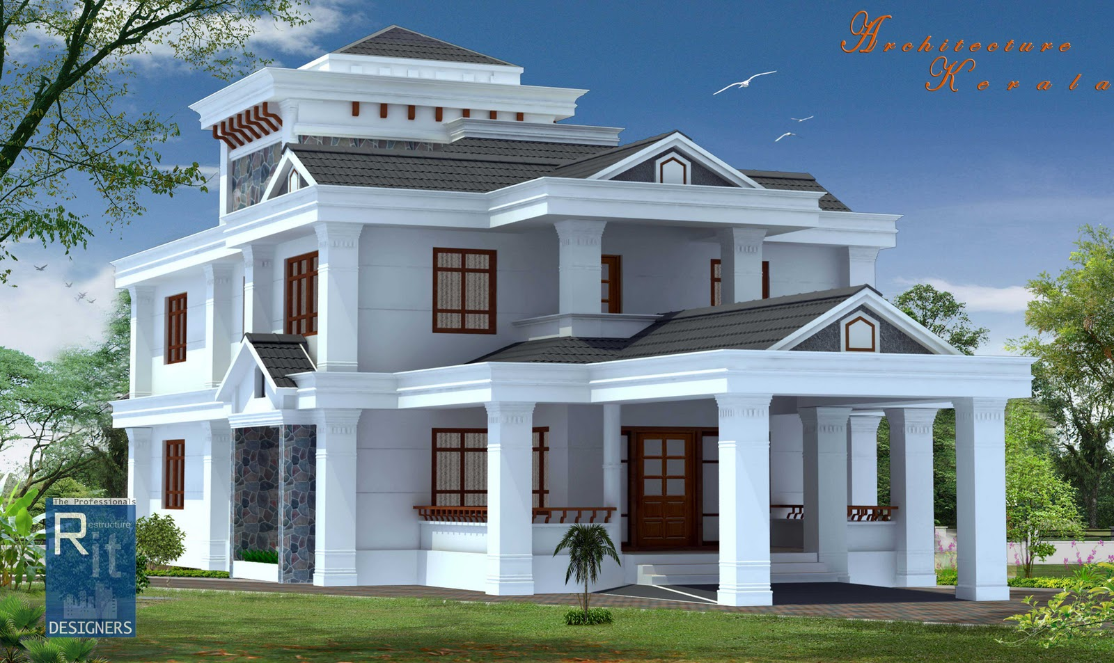 Architecture kerala 4 bed room kerala house for Home architecture design kerala