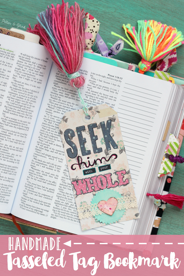 Handmade Tasseled Tag Bookmark--A DIY bookmark perfect for your journaling Bible! www.pitterandglink.com