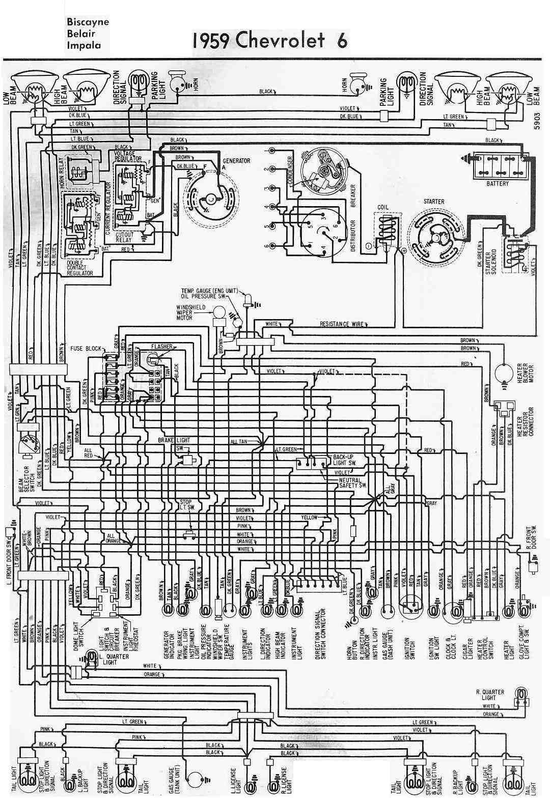 Chevrolet 6 Biscayne  Belair  Impala 1959 Complete Wiring Diagram