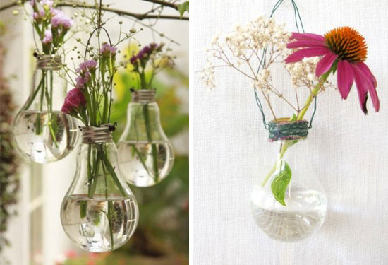 Diy Project Incandescent Light Bulb Vases Hanging Flower Holders