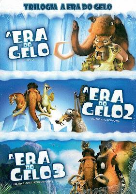 Sinopse: A Era do Gelo 2002 Em plena Era Glacial, um grupo de animais, incluindo um tigre dentes-de-sabre, um mamute e algumas preguiças gigantes, encontra uma criança perdida. Juntos, eles decidem por procurar a família do menino, para que possam devolvê-lo. A Era do Gelo 2 2006 A era glacial está chegando ao fim e, com isso, surge em todo lugar gêiseres e verdadeiros parques aquáticos. O mamute Manfred (Diogo Vilela), o tigre Diego (Márcio Garcia) e o bicho-preguiça Sid (Tadeu Melo) logo descobrem que toneladas de gelo estão prestes a derreter, o que inundaria o vale em que vivem. Com isso, o trio de amigos precisa correr para avisar a todos do perigo e ainda encontrar um local em que não corram riscos. A Era do Gelo 3 2009 Manny (Ray Romano) e Ellie (Queen Latifah) estão à espera de seu primeiro filho. Sid (John Leguizamo) encontra alguns ovos de dinossauro, o que faz com que passe a ter sua própria família adotiva. Só que o roubo faz com que se meta em apuros, com a mãe tiranossauro vindo atrás de seus rebentos. Ela leva os três filhotes e ainda Sid para um mundo subterrâneo, onde os dinossauros ainda existem, o que obriga Manny, Ellie e Diego (Denis Leary) a irem em sua busca para resgatá-lo.
