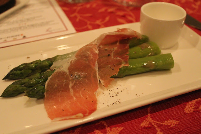 Prosciutto di San Danielle with asparagus at Meritage, Boston, Mass.
