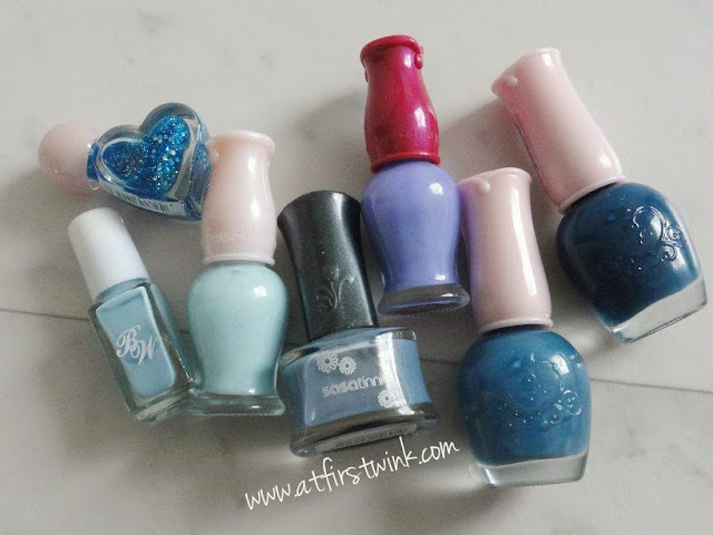 a bunch of blue nail polishes (Etude House, Sasatinnie, Beauty World)