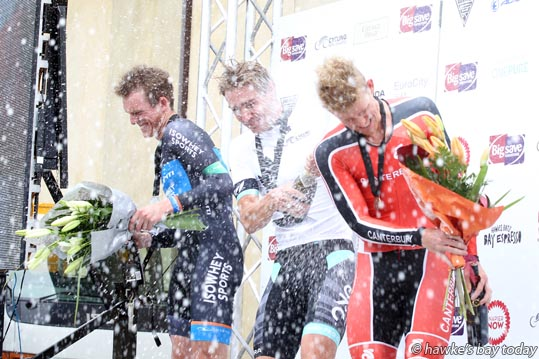 L-R: Liam Aitcheson, Southland, second, Hayden McCormick, Waikato Bay of Plenty, winner, Hamish Schreurs, Canterbury, third, in the under-23 men's time trial - Elite Road National Championships, part of the Summer Cycling Carnival in Napier. photograph