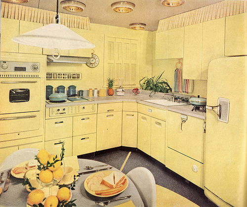 yellow retro kitchens - photo #8