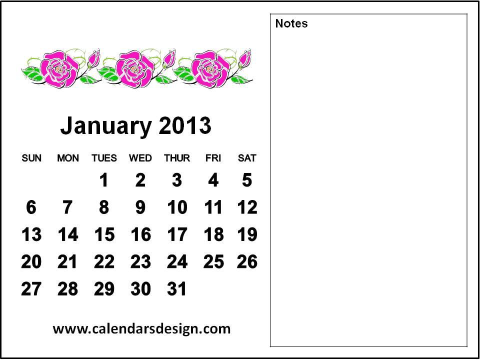 printable calendar 2013 january i created this simple january 2013 ...