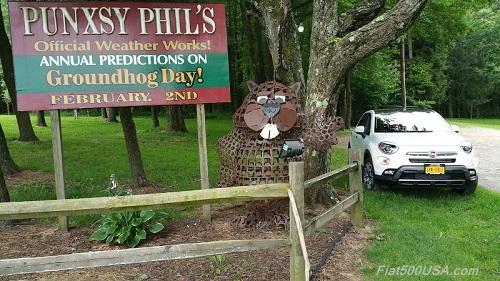 Gobbler's Knob in Punxsutawney with Fiat 500X