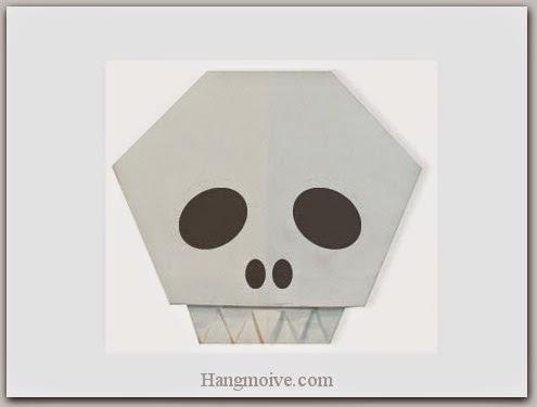 Cách gấp, xếp đầu lâu Halloween bằng giấy origami - Video hướng dẫn xếp hình Halloween - How to fold a Skull