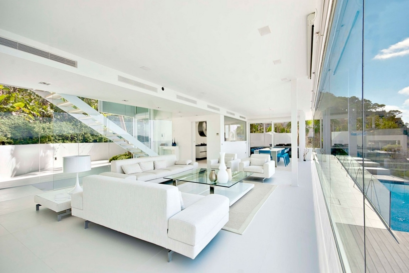 White modern living room in Mallorcan villa