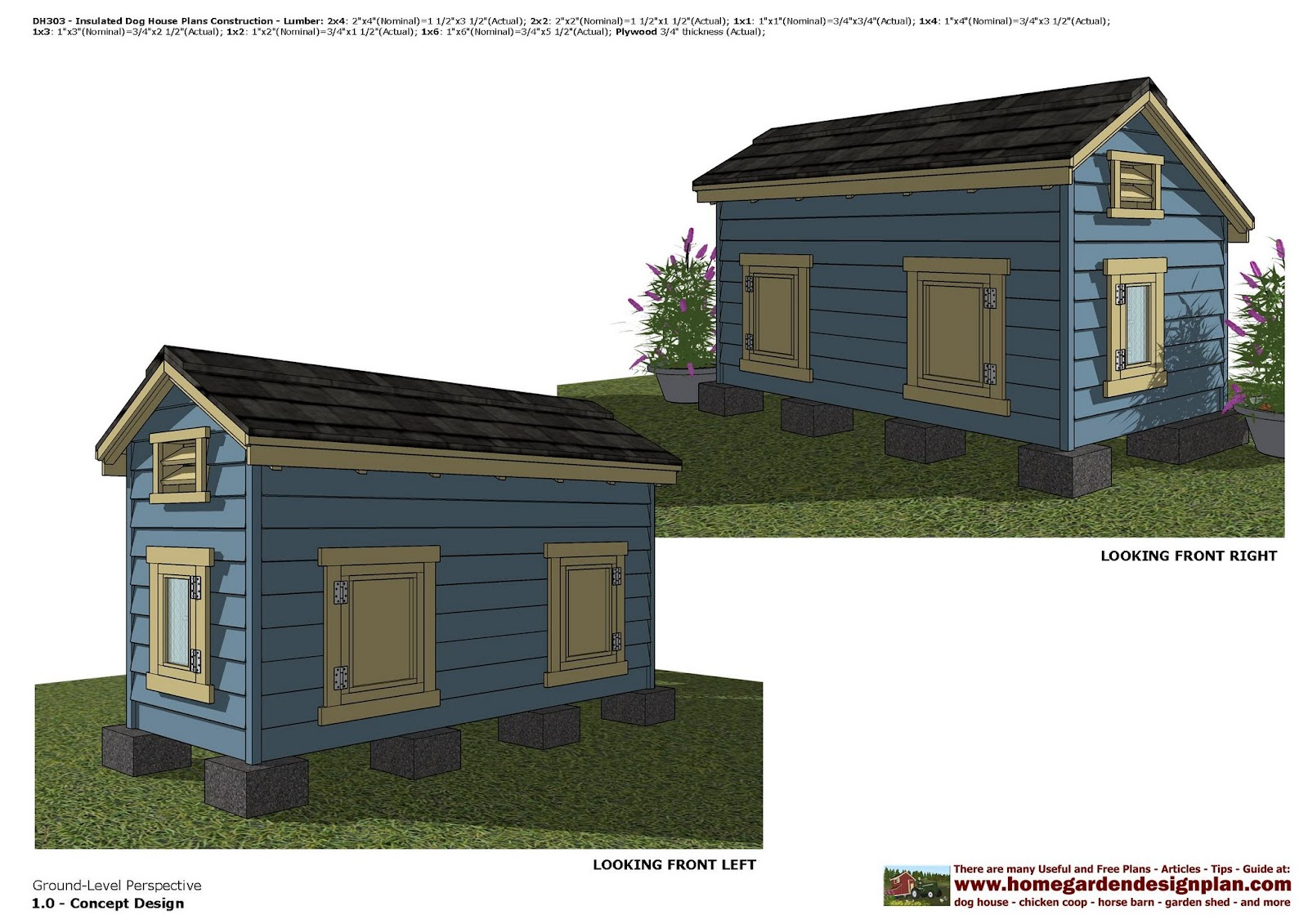 home garden plans DH303 Insulated Dog House Plans Dog House