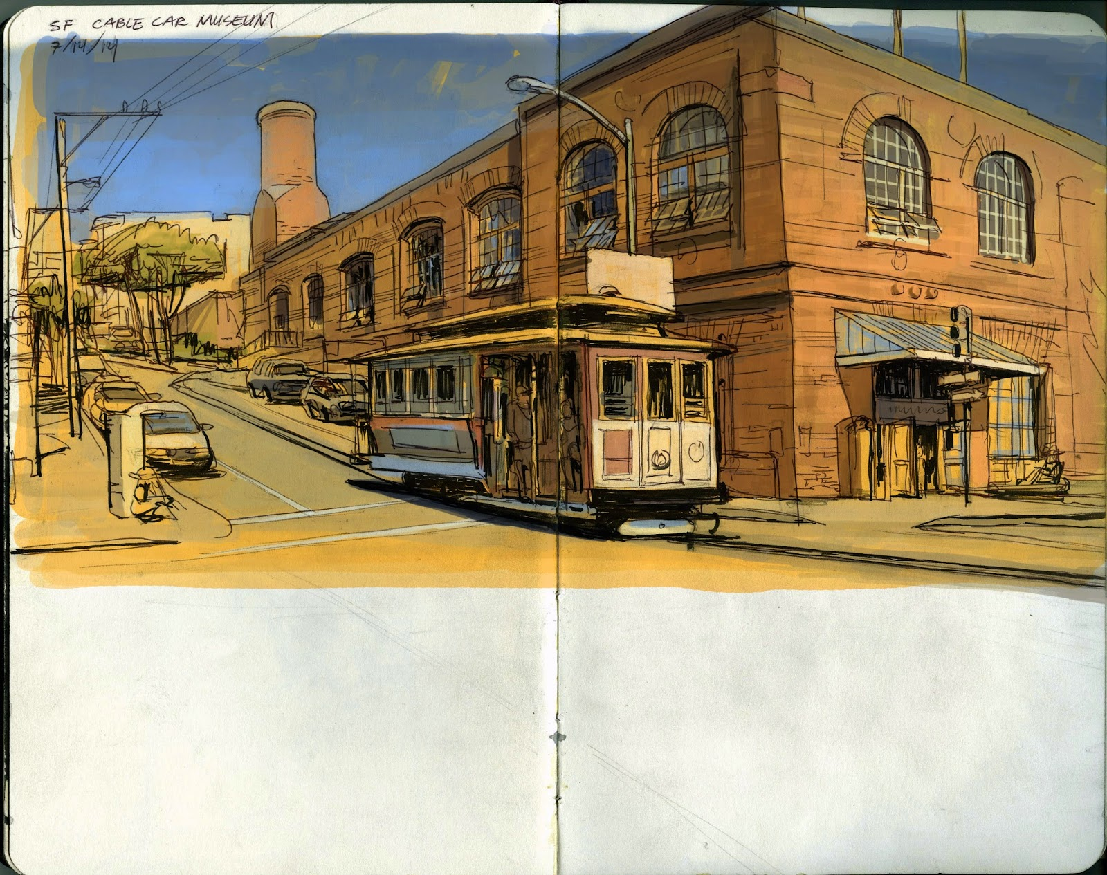 My Summer Location Drawing Class at AAU, San Francisco (Pt 9: the cable car museum)