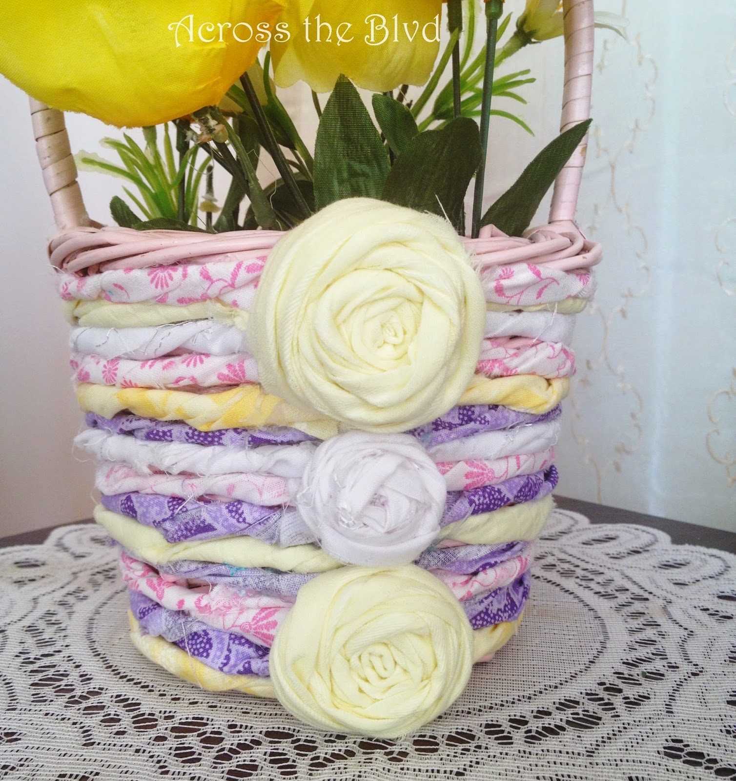 Spring Basket With Rolled Fabric