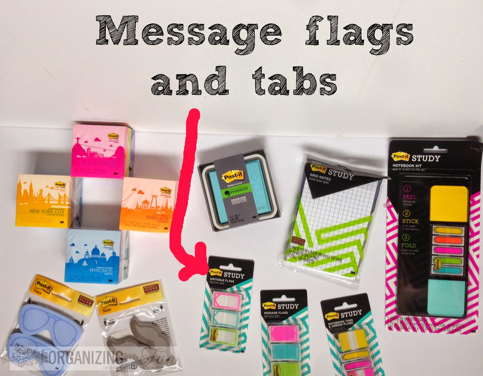 I love Post-it Message tabs and flags :: OrganizingMadeFun.com