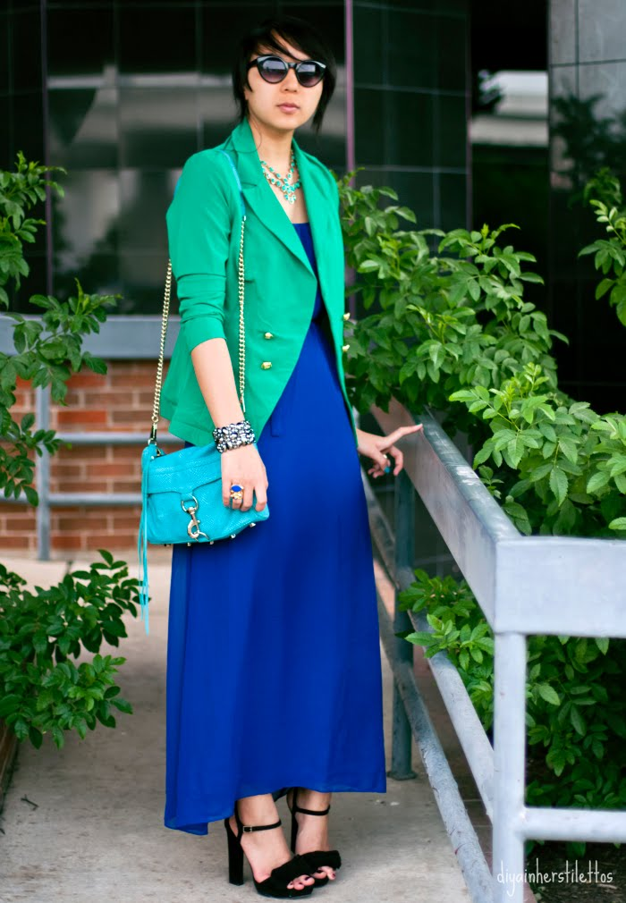 summer fashion, forever 21 cobalt blue slip maxi dress, go jane emerald green blazer, amrita singh turquoise gold necklace, jessica simpson black suede platform sandals, rebecca minkoff mac teal suede bag, austin fashion, austin fashion blog, austin style, texas fashion