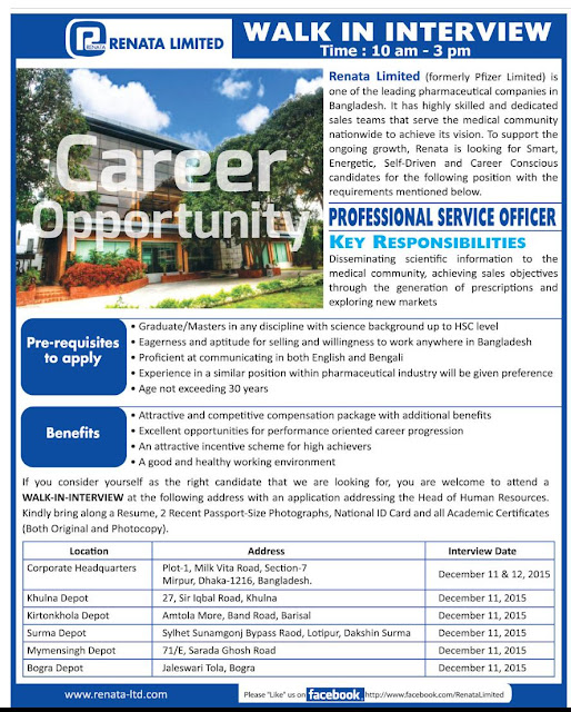 Professional Service Officer | Renata Limited