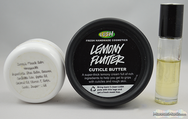 Cuticle care featuring Sunny's cuticle care products and Lush Lemony Flutter