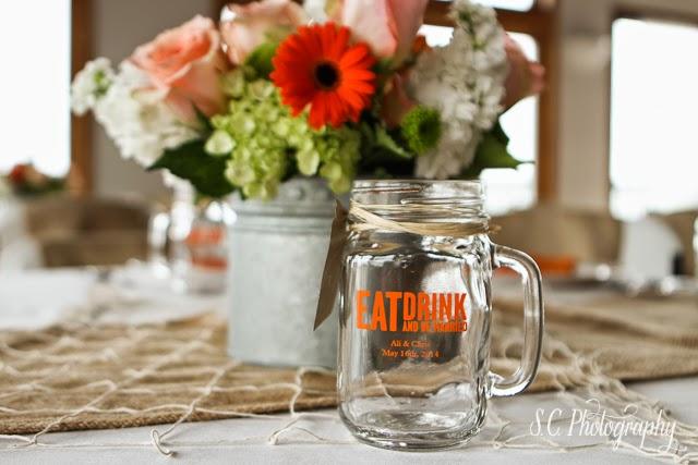 Mason jar drinking glasses cups wedding custom