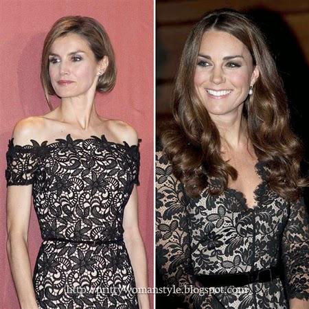 Кралските съпруги Летисия и Кейт в черни дантелени рокли