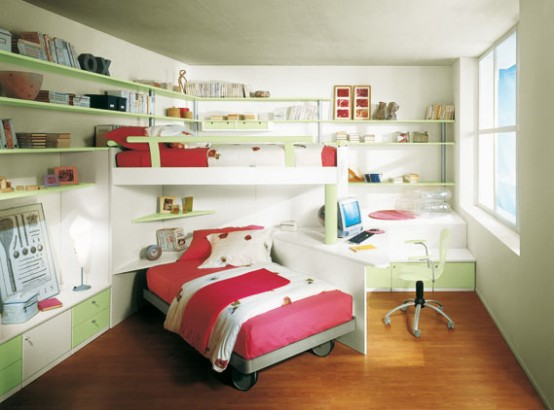 Deco y dise o decoraci n dise o interiores decorar habitaciones infantiles peque as - Space saving ideas for small kids bedrooms plan ...
