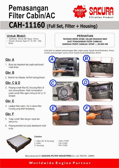 Cara pemasangan cabin filter / filter AC avanza, xenia, terios, rush