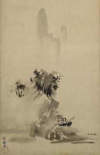Japanese painting, Sesshu Toyo, landscape, monochrome ink painting, sumi-e, suiboku, kara-e, kanga