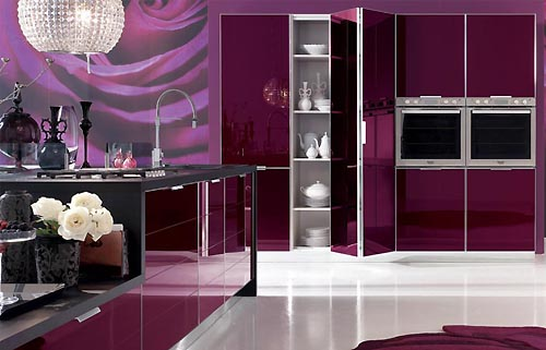 In Design Magz MODERN KITCHEN PURPLE CABINET STORAGE DESIGN