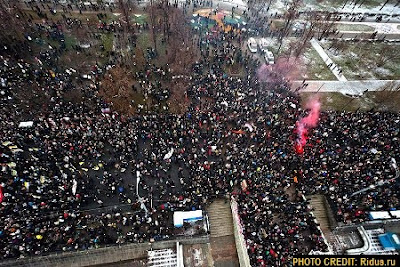 Aerial View of Moscow Rally Shot By Helicopter Camera