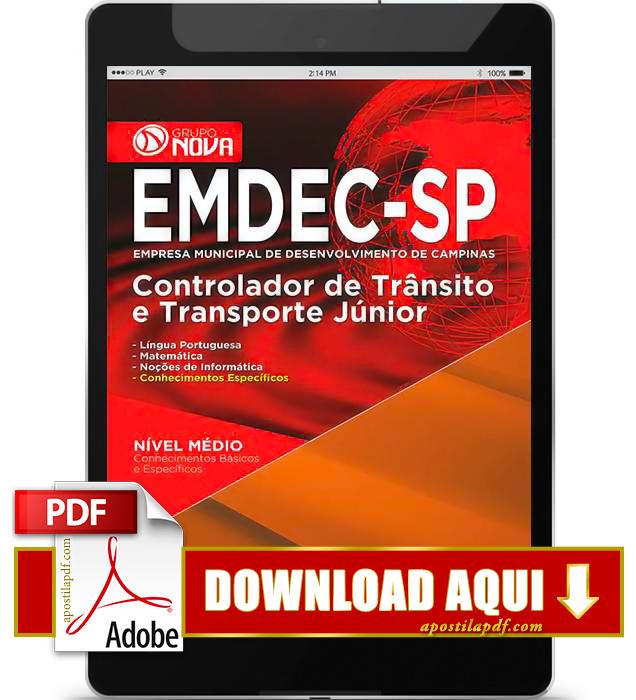 Apostila EMDEC 2015 PDF Download Controlador de Trânsito e Transporte