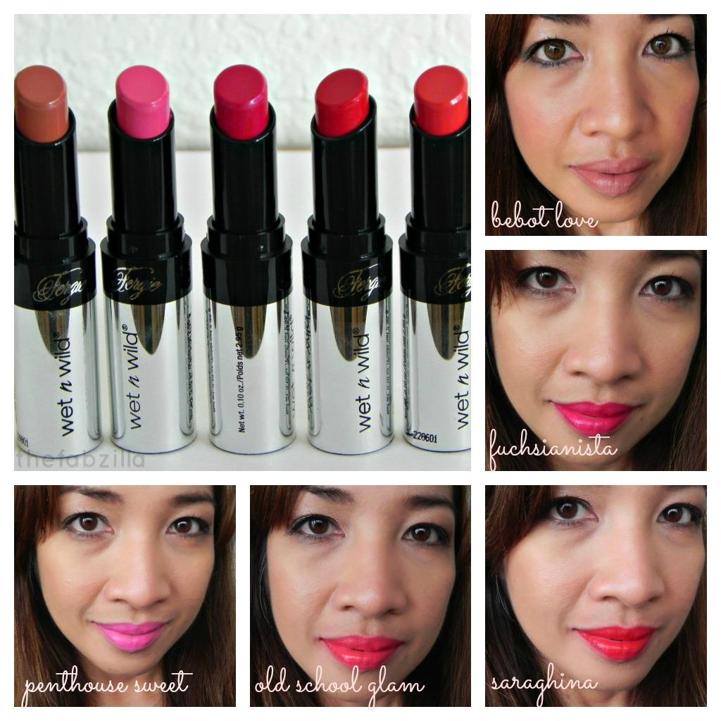 wet n wild fergie centerstage lipsticks swatch photos