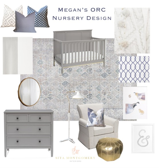Neutral Nursery Design with grey crib and dresser, pops of color and gold | Honey We're Home & Sita Montgomery Interiors